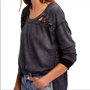 Free People First Love Lace-Up Tee Charcoal Sz XS